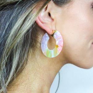 Jewelry - Multi Colored Acrylic Hoop Earrings